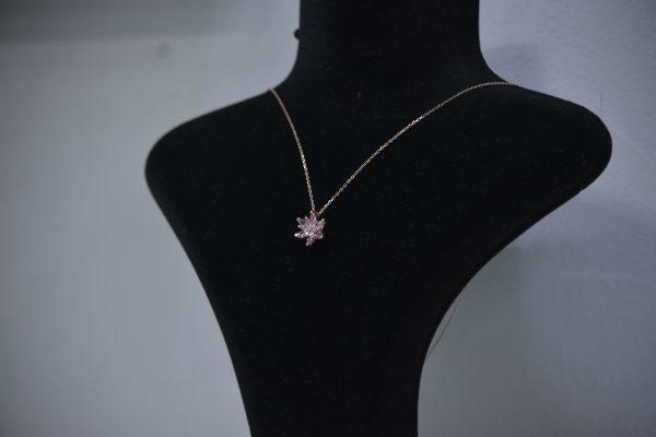 Gümüş Pembe Zirkon Taşlı Lotus Çiçeği Kolye