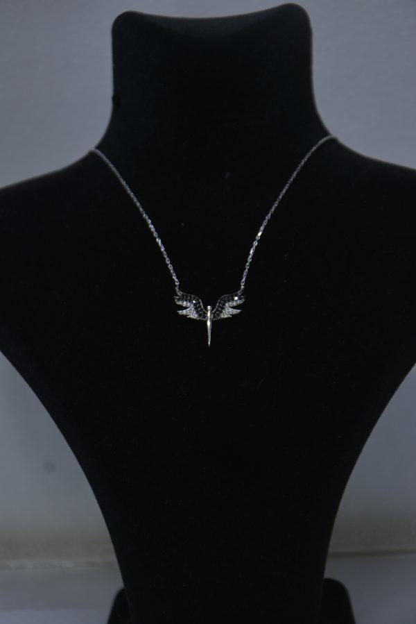Mikail Meleği Gümüş Kolye Siyah-Beyaz
